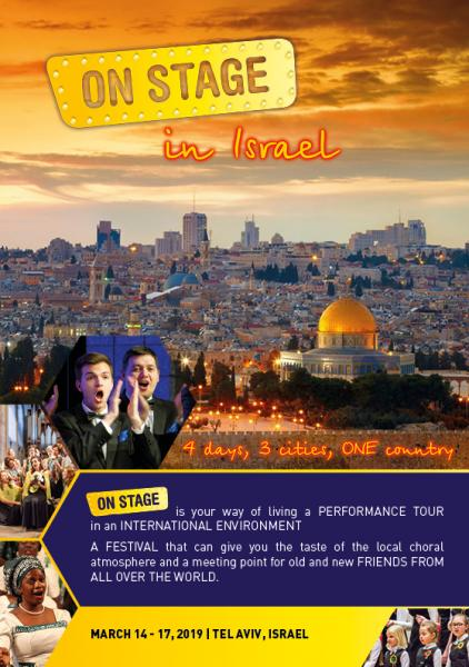 Last minute offer for be ON STAGE in ISRAEL 14-17 march 2019